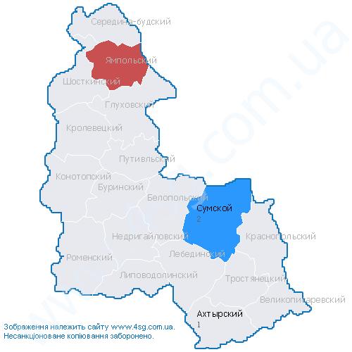 Карта Ямпольского Района Сумской Области